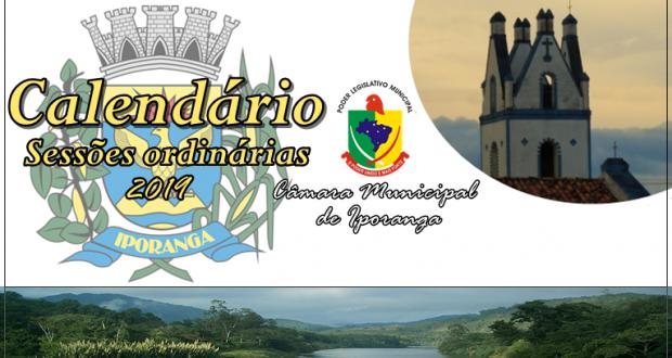 Calendário das Sessões Ordinárias do ano de 2019