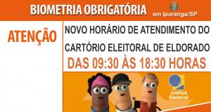 Novo horário de atendimento no Cartório Eleitoral de Eldorado/SP