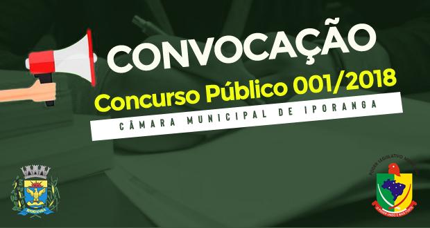 CONVOCAÇÃO DO CONCURSO PÚBLICO 001/2018